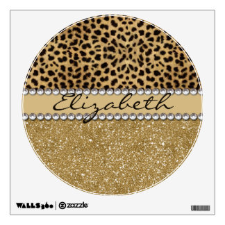 Leopard Spot Gold Glitter Rhinestone PHOTO PRINT Wall Sticker