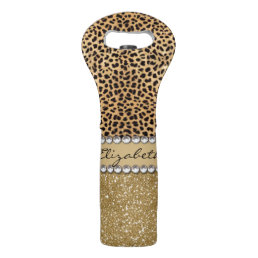 Leopard Spot Gold Glitter Rhinestone PHOTO PRINT Wine Bag