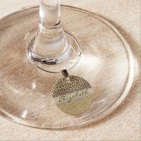 Leopard Spot Gold Glitter Rhinestone PHOTO PRINT Wine Glass Charm