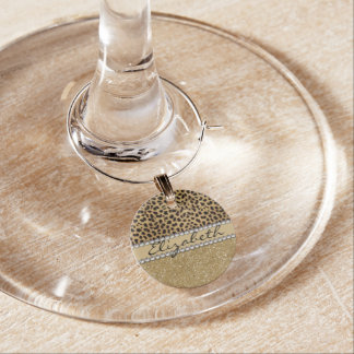 Leopard Spot Gold Glitter Rhinestone PHOTO PRINT Wine Glass Charm