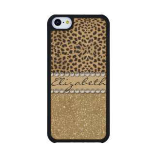 Leopard Spot Gold Glitter Rhinestone PHOTO PRINT Carved® Maple iPhone 5C Slim Case