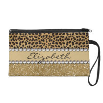 Leopard Spot Gold Glitter Rhinestone PHOTO PRINT Wristlet Purse