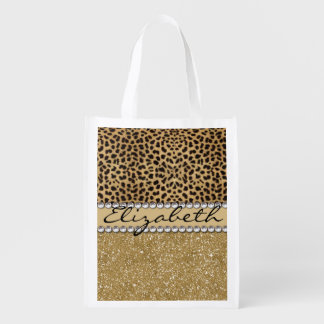 Leopard Spot Gold Glitter Rhinestone PHOTO PRINT Reusable Grocery Bags