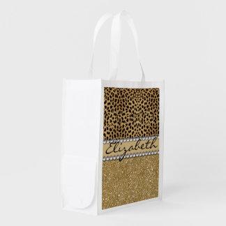 Leopard Spot Gold Glitter Rhinestone PHOTO PRINT Grocery Bags
