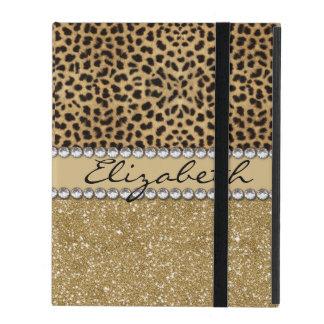 Leopard Spot Gold Glitter Rhinestone Print Pattern iPad Folio Cases