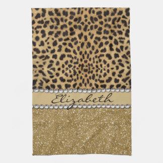 Leopard Spot Gold Glitter Rhinestone Print Pattern Hand Towels