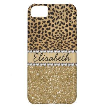 Leopard Spot Gold Glitter Rhinestones Case For iPhone 5C