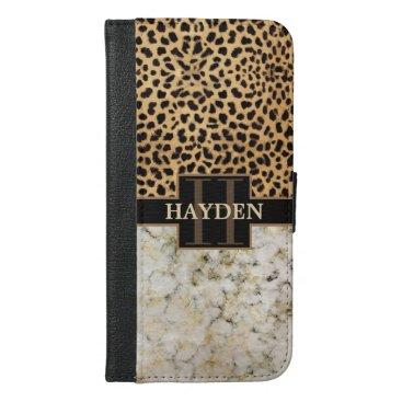 Leopard Spot Marble Monogram iPhone 6/6s Plus Wallet Case