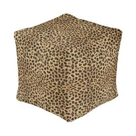 Leopard Spot Pattern Print Cube Pouf