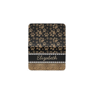 Rhinestone business card holders cases zazzle leopard spot paw prints rhinestone photo print business card holder colourmoves