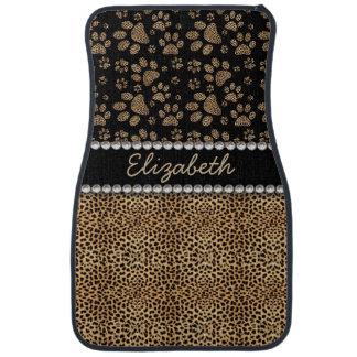 Leopard Spot Paw Prints Rhinestone PHOTO PRINT Car Floor Mat