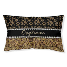 Leopard Spot Paw Prints Rhinestone PHOTO PRINT Pet Bed