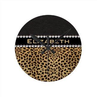 Leopard Spot Rhinestone Diamonds Monogram Round Clocks