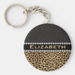 Leopard Spot Rhinestone Diamonds Monogram PHOTO Basic Round Button Keychain