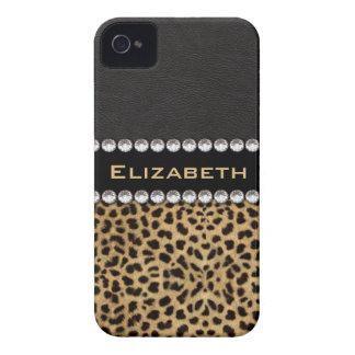 Leopard Spot Rhinestone Diamonds Monogram PHOTO Case-Mate iPhone 4 Case