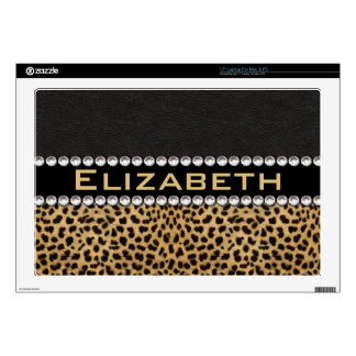 Leopard Spot Rhinestone Diamonds Monogram PHOTO Decal For Laptop