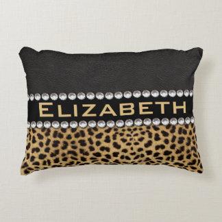 Leopard Spot Rhinestone Diamonds Monogram PHOTO Decorative Pillow