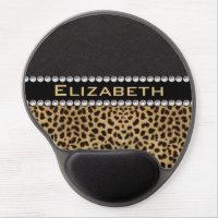 Leopard Spot Rhinestone Diamonds Monogram PHOTO Gel Mousepad