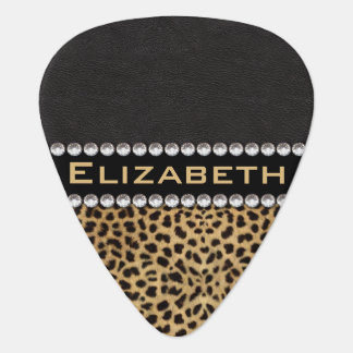 Leopard Spot Rhinestone Diamonds Monogram PHOTO Guitar Pick