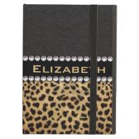 Leopard Spot Rhinestone Diamonds Monogram PHOTO iPad Air Covers