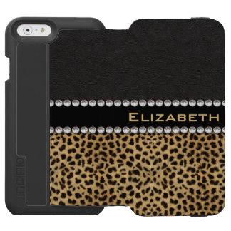 Leopard Spot Rhinestone Diamonds Monogram PHOTO iPhone 6/6s Wallet Case