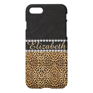 Leopard Spot Rhinestone Diamonds Monogram PHOTO iPhone 7 Case