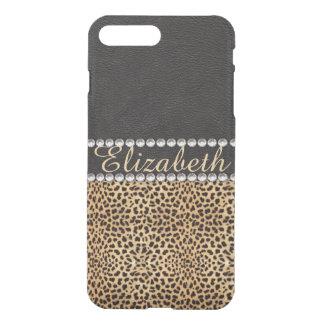 Leopard Spot Rhinestone Diamonds Monogram PHOTO iPhone 7 Plus Case