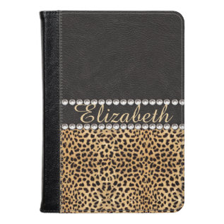 Leopard Spot Rhinestone Diamonds Monogram Photo Kindle Case at Zazzle