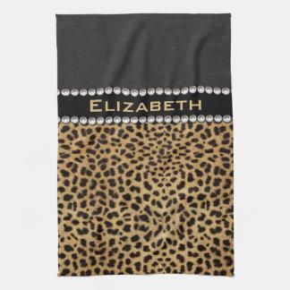 Leopard Spot Rhinestone Diamonds Monogram PHOTO Kitchen Towel