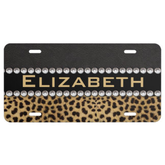 Leopard Spot Rhinestone Diamonds Monogram PHOTO License Plate