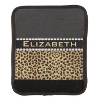 Leopard Spot Rhinestone Diamonds Monogram PHOTO Luggage Handle Wrap