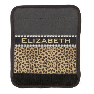 Leopard Spot Rhinestone Diamonds Monogram PHOTO Luggage Handle Wrap