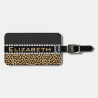 Leopard Spot Rhinestone Diamonds Monogram PHOTO Luggage Tag