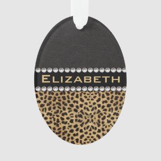 Leopard Spot Rhinestone Diamonds Monogram PHOTO Ornament