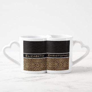 Leopard Spot Rhinestone Diamonds Monogram PHOTO Couples' Coffee Mug Set