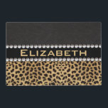 "Leopard Spot Rhinestone Diamonds Monogram PHOTO Placemat<br><div class=""desc"">Customize / personalize this leopard spot print and black leather design with white diamond rhinestones monogram. (PRINTED PHOTO) FAUX</div>"