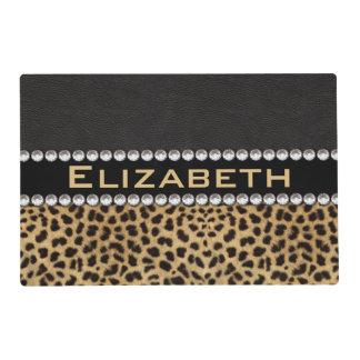 Leopard Spot Rhinestone Diamonds Monogram PHOTO Placemat