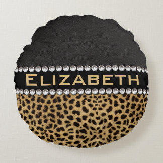 Leopard Spot Rhinestone Diamonds Monogram PHOTO Round Pillow