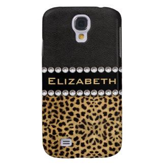 Leopard Spot Rhinestone Diamonds Monogram PHOTO Samsung Galaxy S4 Cover