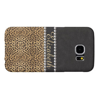 Leopard Spot Rhinestone Diamonds Monogram PHOTO Samsung Galaxy S6 Cases