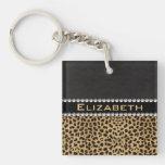 Leopard Spot Rhinestone Diamonds Monogram PHOTO Single-Sided Square Acrylic Keychain