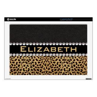 Leopard Spot Rhinestone Diamonds Monogram PHOTO Laptop Decal