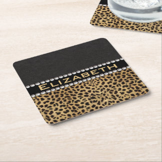 Leopard Spot Rhinestone Diamonds Monogram PHOTO Square Paper Coaster