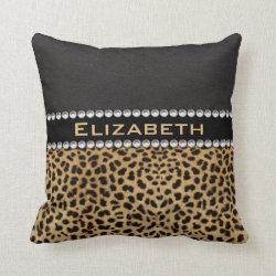 Leopard Spot Rhinestone Diamonds Monogram PHOTO Throw Pillow