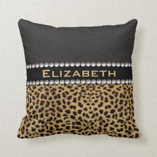 Leopard Spot Rhinestone Diamonds Monogram PHOTO Throw Pillow