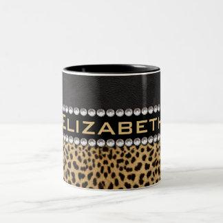 Leopard Spot Rhinestone Diamonds Monogram PHOTO Two-Tone Coffee Mug
