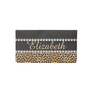 Leopard Spot Rhinestone Diamonds Personalized Checkbook Cover