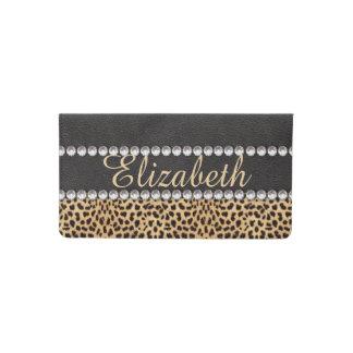 Leopard Spot Rhinestone Diamonds Personalized Checkbook Cover