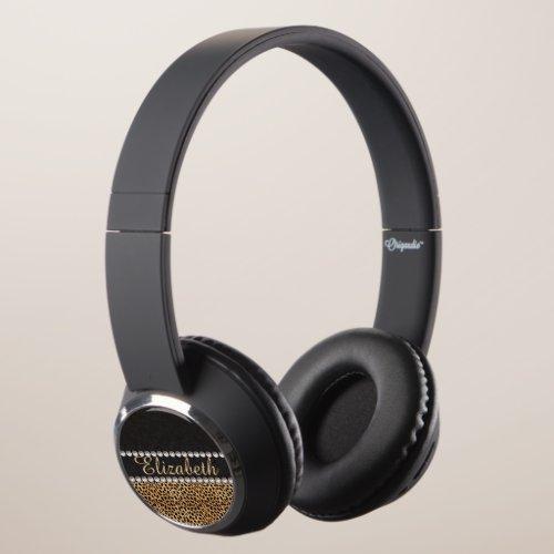 Leopard Spot Rhinestone Diamonds Personalized Headphones