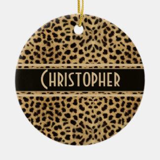 Leopard Spot Skin Print Personalized Ceramic Ornament